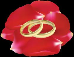 Wedding Rings in Rose Petals PNG Clip Art - Best WEB Clipart