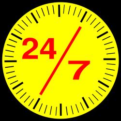 24 7 Clock Clip Art at Clker.com - vector clip art online, royalty ...