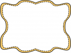 Yellow Wavy Stitched Frame - Free Clip Art Frames