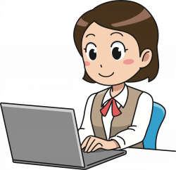 Clipart - Female Computer User (#1)