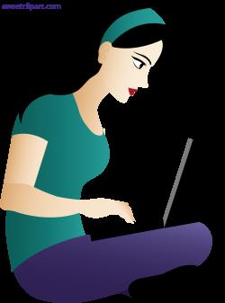 Woman Using Laptop Clipart - Sweet Clip Art