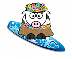 Clipart - Surfer Girl Cow