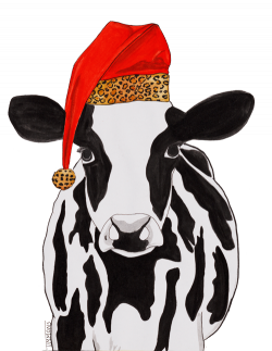 This cow is styling for Christmas. Cow with Leopard Santa Hat by ...