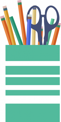 Clipart - Office cup with scissors, pencils and pens