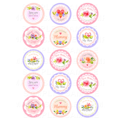 Mothers Day - Edible Cupcake Toppers - Personalised Printed Edible Image