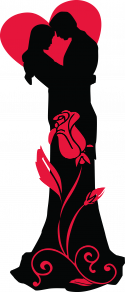 Transparent Loving Couple Silhouettes with Red Heart and Rose PNG ...