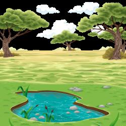 Landscape Drawing Clip art - Vector colored pond landscape ...