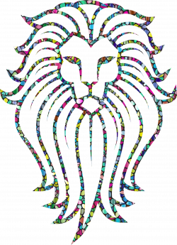 Clipart - Polyprismatic Tiled Lion Face Tattoo With Background