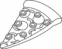 Line Art of a Slice of Pizza - Free Clip Art