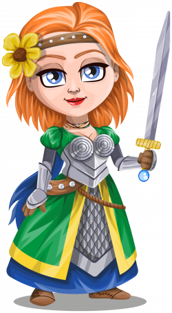 Clipart - Woman knight warrior in armor, holding a sword - 3 - redhead