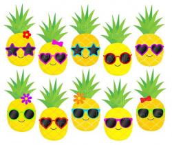 Pineapple Clip Art Pictures, Pineapples in Sunglasses Summer ...