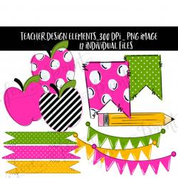 Teacher Design Elements, Teacher Clipart, Apple Clipart, Sublimation  designs, pencil png, Classroom Decor, Pennant, Banner, Digital Download