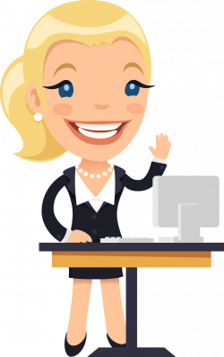 Cartoon Female Desk Illustration - Foreign companies in charge of ...
