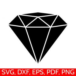Diamond SVG File, Diamond Clipart, Diamond DXF, Diamond Silhouette ...