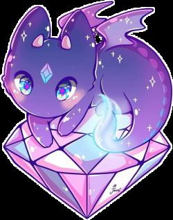 dragon kawaii cute diamond diamonds purple magic...