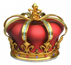 Gold And Red Crown With Diamonds 3d Png Clip Art