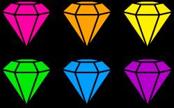Clip art design of six diamonds in neon colors | Neon All Around ...