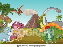 Vector Stock - Cartoon group of dinosaur with moun. Clipart ...