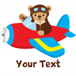Cute Teddy Bear Pilot in Red, Blue Airplane Dog T- by ClipArtMEGAmart