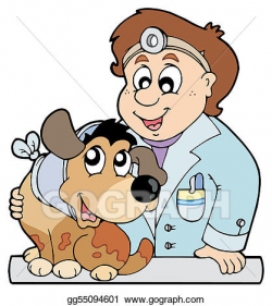 Vector Art - Dog with collar at veterinarian. Clipart ...