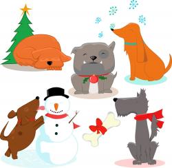 Premium dogs clipart, Cute dog , Xmas clipart, Christmas dog ...