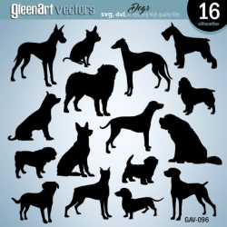 Digital dog silhouette, Digital dog clipart, dog vector file ...