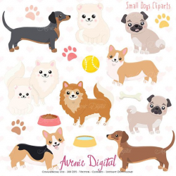 Cute Dog Clipart. Scrapbooking printables Vector by ...