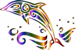 Clipart - Chromatic Tribal Dolphin 2 No Background