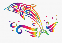 Clipart Chromatic Tribal Dolphin No Background Big ...