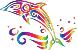 Clipart - Chromatic Tribal Dolphin 7 No Background