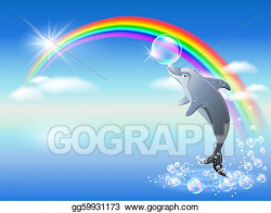 Clip Art Vector - Rainbow and dolphin. Stock EPS gg59931173 ...