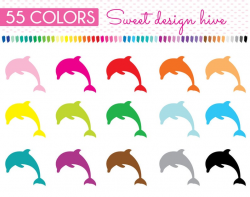Dolphin Clipart, Dolphin Stickers rainbow, Dolphin stickers, Planner  Stickers Clip art, Commercial Use, PL0014