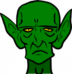 scary ear clip art | goblin, monster, sad, green, frown, evil, ears ...