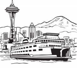 OnlineLabels Clip Art - Space Needle And Ferry