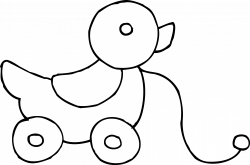 Rolling Duck Toy Coloring Page - Free Clip Art