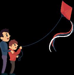 Cartoon Clip art - To accompany his son to fly a kite 1858*1894 ...