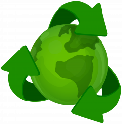 Green Earth Planet with Recycle Symbol PNG Clip Art - Best WEB Clipart