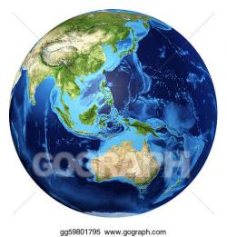 Drawing - Earth globe, realistic 3 d rendering. oceania view ...