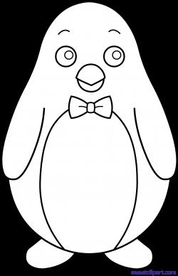 Penguin Bowtie Line Art Clipart - Sweet Clip Art