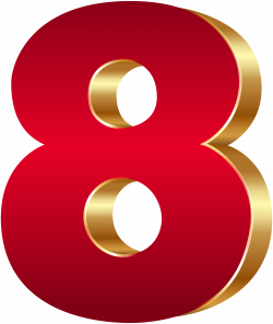3D Number Eight Red Gold PNG Clip Art Image | Gallery Yopriceville ...