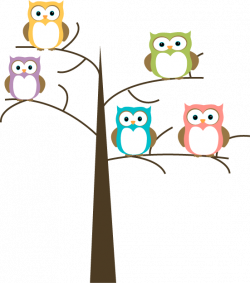Owls in a Tree Clip Art - Owls in a Tree Image
