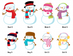 Snowman Family with Snowflakes - Christmas Thank You Cards ...