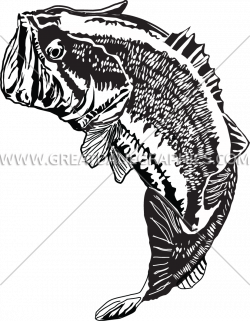 Large Mouth Bass Jumping   Production Ready Artwork for T-Shirt Printing