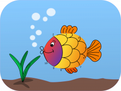 Clipart - Connect the dots Fish Colored Remix