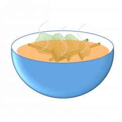 Clipart - Thai food - Sour soup with fish and mixed vegetable