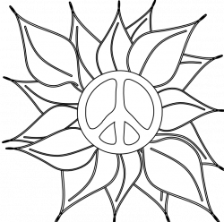 Peace Symbol Peace Sign Flower 46 Black White Line Art Coloring ...
