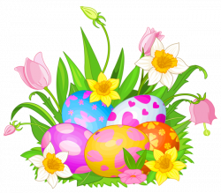 Easter Eggs and Flowers PNG Clipart Picture | Gallery Yopriceville ...