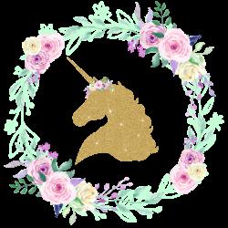 Gold GLITTER Unicorn Center Floral Wreath Iron On