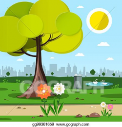 Vector Clipart - Park with tree, flowers and city silhouette ...