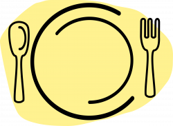 Clipart - Dinner Plate with Spoon and Fork